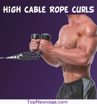 High Cable Rope Curls exercise for arm wrestling